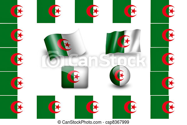 flag of Algeria. icon set - csp8367999