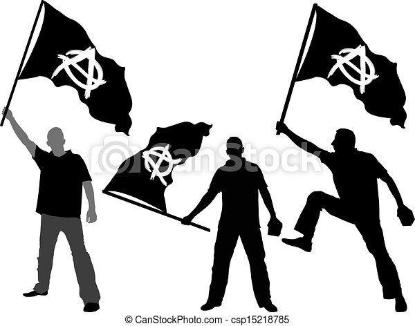 Line Art Umbrella : Man with waving flag of anarchy vector search clip art