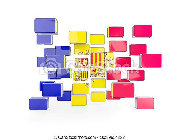 Flag of andorra, mosaic background - csp39654222