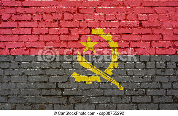 Flag of Angola painted on brick wall, background texture - csp38755292