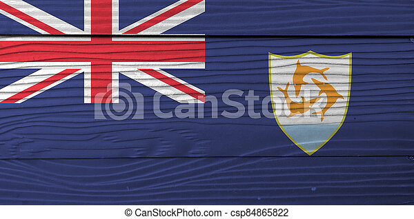 Flag of Anguilla on wooden wall background. Grunge Anguilla flag texture, Blue Ensign with the British flag and the coat of arms of Anguilla in the fly. - csp84865822