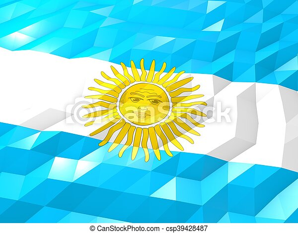 Flag of Argentina 3D Wallpaper Illustration - csp39428487