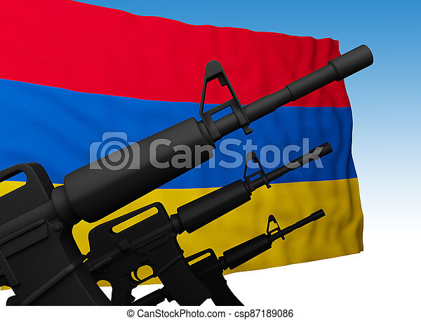 flag of armenia with guns - csp87189086