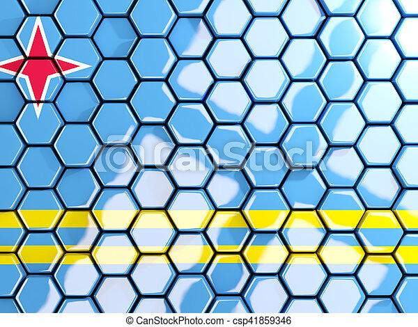 Flag of aruba, hexagon mosaic background - csp41859346