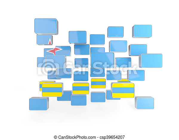 Flag of aruba, mosaic background - csp39654207