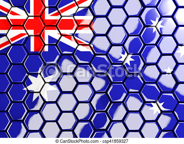 Flag of australia, hexagon mosaic background - csp41859327