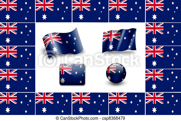 flag of Australia. icon set - csp8368479
