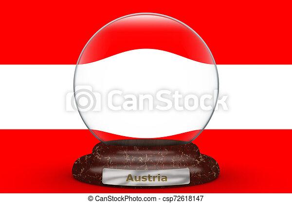 Flag of Austria on snow globe - csp72618147