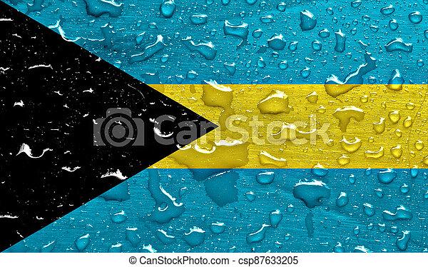 flag of Bahamas with rain drops - csp87633205