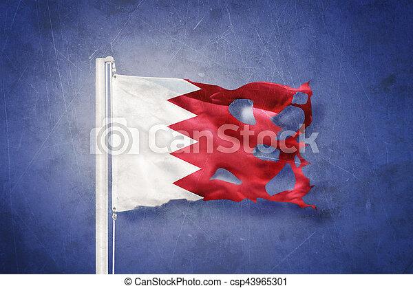Flag of Bahrain flying against grunge background - csp43965301