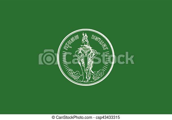 Flag of Bangkok, Thailand. Vector Format - csp43433315