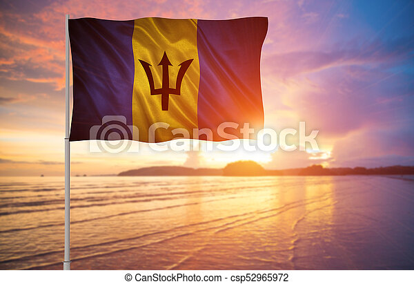 flag of Barbados. - csp52965972