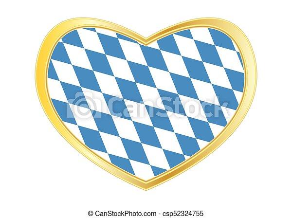 Flag of Bavaria in heart shape, golden frame - csp52324755