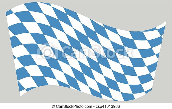 Flag of Bavaria waving on gray background - csp41013986