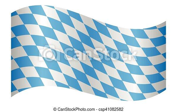 Flag of Bavaria waving on white background - csp41082582