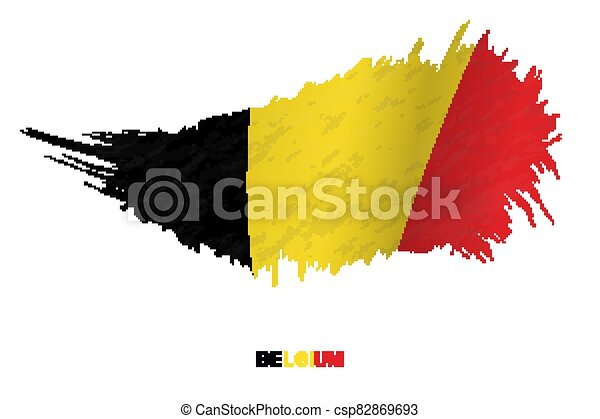 Flag of Belgium in grunge style with waving effect. - csp82869693