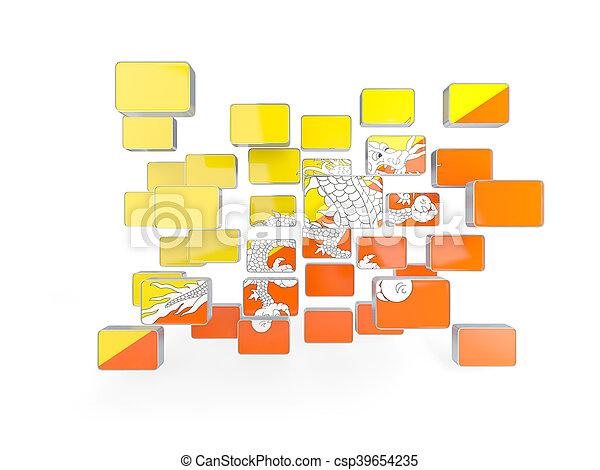 Flag of bhutan, mosaic background - csp39654235