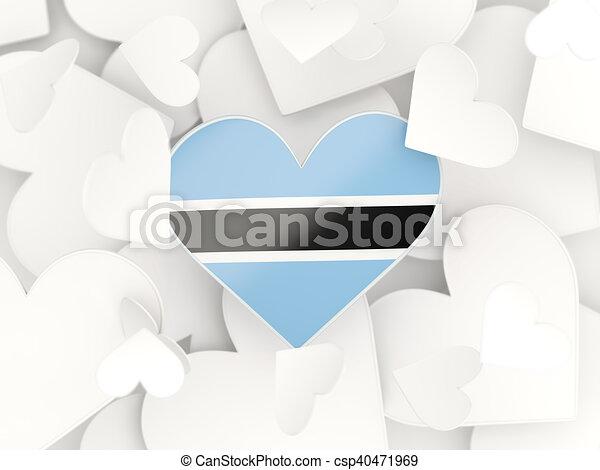 Flag of botswana heart shaped stickers csp40471969
