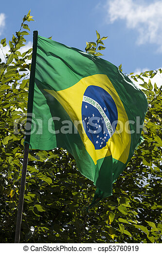 Flag of Brazil in the wind - csp53760919