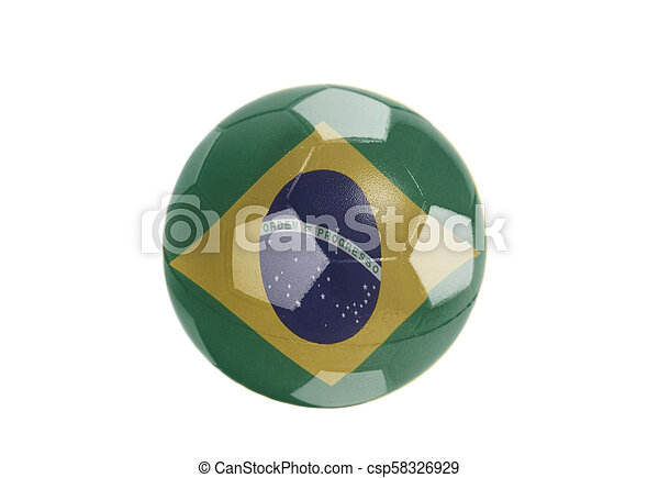 Flag of Brazil on Soccer ball - csp58326929