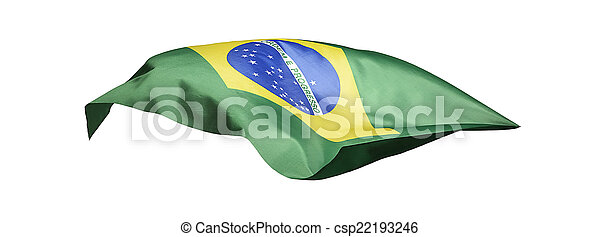 Flag of Brazil on white background - csp22193246