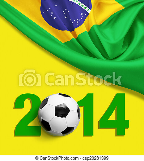 Flag of Brazil on yellow background. 2014 year digits. - csp20281399