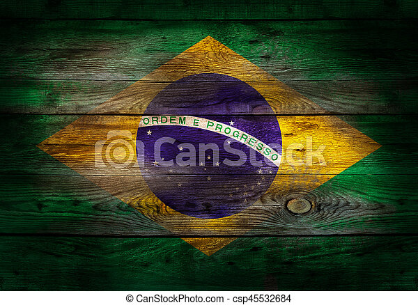 Flag of Brazil painted on grungy wood plank background - csp45532684