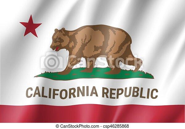 Waving Flag Of California American State Vector Illustration