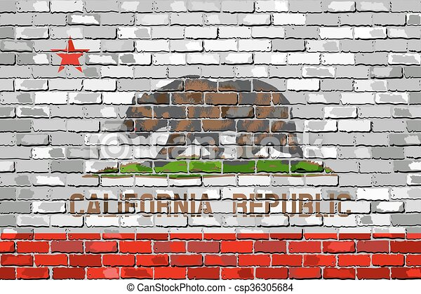 Flag of California on a brick wall - csp36305684