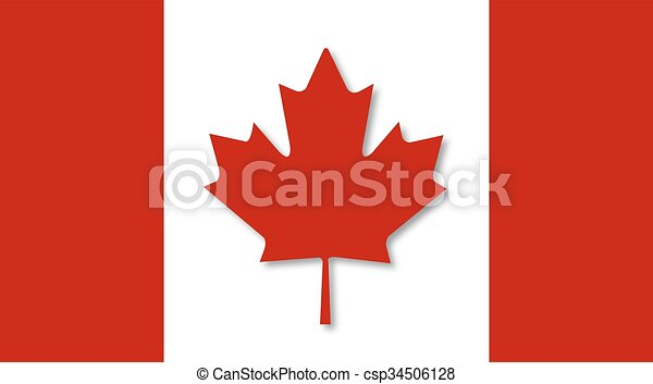 Flag of Canada with the shadow - csp34506128