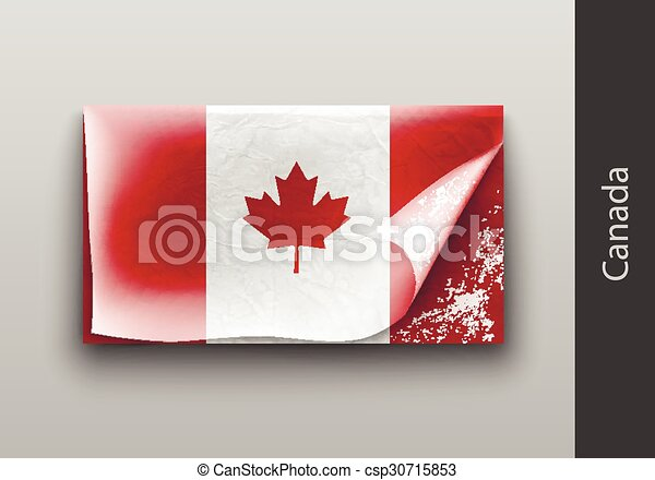 Flag of Canada with the tattered masking  - csp30715853