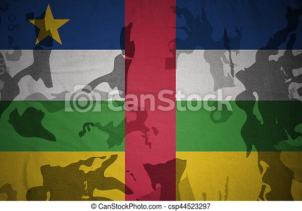 flag of central african republic on the khaki texture . military concept - csp44523297