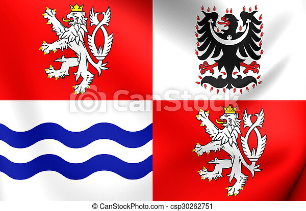 Flag of Central Bohemian Region, Czech Republic. - csp30262751