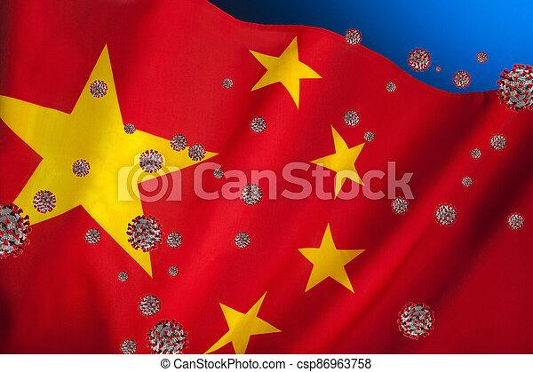 Flag of China - Coronavirus - csp86963758