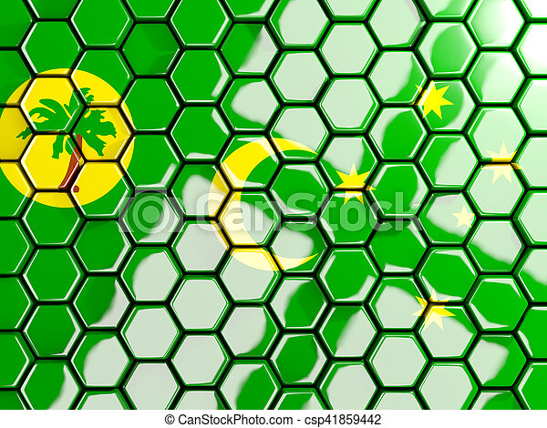 Flag of cocos islands, hexagon mosaic background - csp41859442