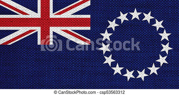 Flag of Cook Islands on old linen - csp53563312
