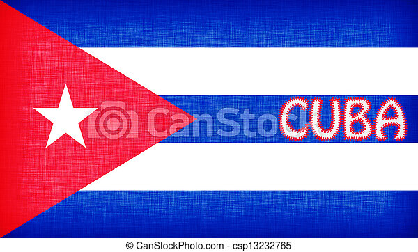 Flag of Cuba stitched with letters - csp13232765