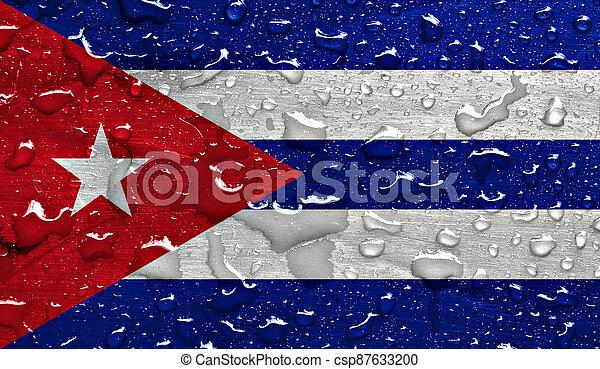 flag of Cuba with rain drops - csp87633200