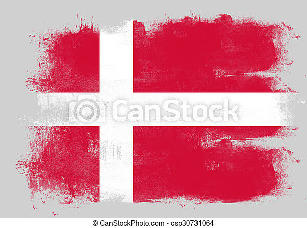 Flag of Denmark painted with brush - csp30731064