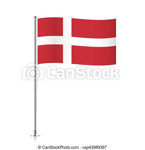 Flag of Denmark waving on a metallic pole. - csp43989397