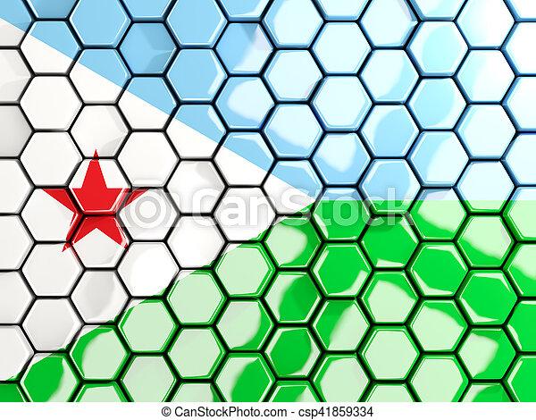 Flag of djibouti, hexagon mosaic background - csp41859334