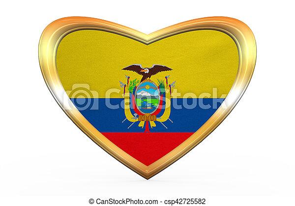 Flag Of Ecuador In Heart Shape Golden Frame Ecuadorian National