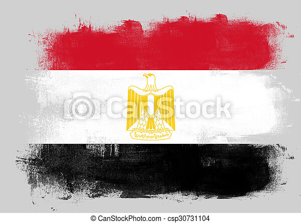 Flag of Egypt painted with brush - csp30731104
