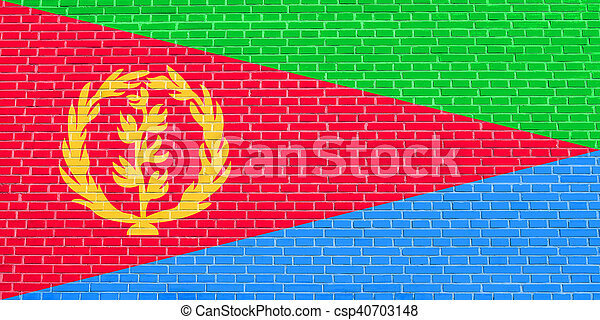 Flag of Eritrea on brick wall texture background - csp40703148