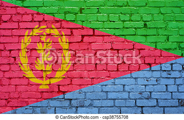 Flag of Eritrea painted on brick wall, background texture - csp38755708