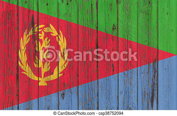 Flag of Eritrea painted on wooden frame - csp38752094