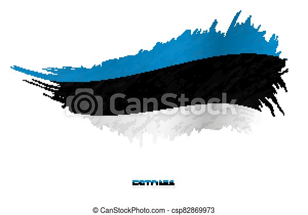 Flag of Estonia in grunge style with waving effect. - csp82869973