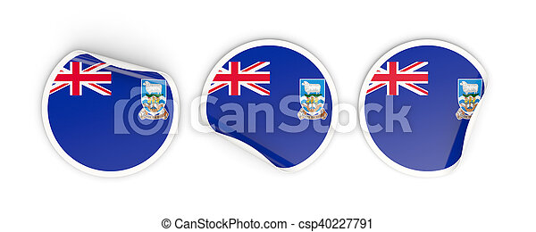 Flag of falkland islands, round labels - csp40227791