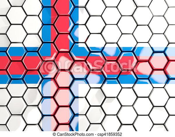 Flag of faroe islands, hexagon mosaic background - csp41859352