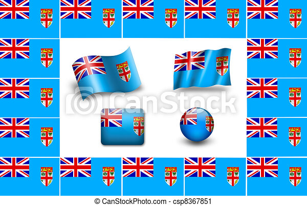 flag of Fiji. icon set - csp8367851